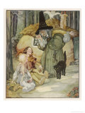 The Witch and Her Cat Find Hansel and Grethel Giclee Print by Anne Anderson