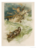 The Survivors of the Shipwreck Try to Row Through the Stormy Seas: Only Crusoe Will Survive Giclee Print by J. Finnemore