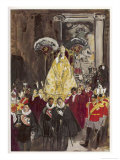 Pope in Procession Giclee Print by Yves Brayer