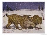 Two Lynxs Devour a Sheep Giclee Print by Louis A. Sargent