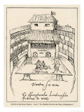 Sketch of the Swan Theatre in London Giclee Print by Johann De Witt