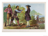 After His Wife&#39;s Death Crusoe Revisits the Island and Meets the Spaniard Whose Life He Saved Giclee Print by William Dickes