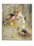 He Dances Gleefully Around a Fire Chanting His Name Gicleetryck av Anne Anderson