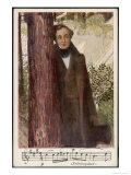 Felix Mendelssohn as a Young Man with a Quotation from His Spring Song or Fruhlingslied Giclee Print by O. Friedrich