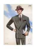 Frenchman in a Formal Pin- Striped Suit with a Double- Breasted Jacket with Long Lapels Giclee Print by Jean Darroux
