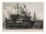 Repairing a Sailing Warship in the Floating Dock at Rotherhithe on the Thames Giclee Print by J.c. Allen