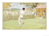 Mixed Doubles in the Grounds of a Stately Home Giclee Print by C.m. Brock