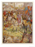 Richard II Mounted on His Horse Confronts the Rebels Giclee Print by Henry Justice Ford