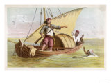 Robinson Crusoe Escapes from the Moors Giclee Print by William Dickes