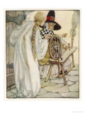 The Witch Shows Sleeping Beauty the Spinning Wheel Giclee Print by Anne Anderson