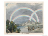 Three Rainbows Over a River with a Bridge in the Background and Ships in the Foreground Giclee Print by Charles F. Bunt