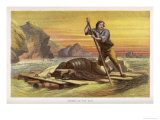 Crusoe on His Raft Salvages as Much as He Can from the Wrecked Ship Giclee Print by William Dickes