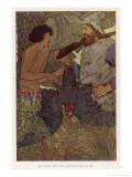 Robinson Crusoe Shoots a Parrot Which He and Friday Eat for Supper Gicleetryck av Elenore Plaisted Abbott