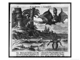 Flying Dragons' were Among the Weird Creatures Reported from the New World by Vespucci Giclee Print by Theodor de Bry