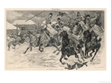 Cossack Horsemen Charge Through an Enemy Village Giclee Print by G. Darnoc