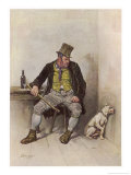 Oliver Twist: Bill Sykes Sits at a Table with a Bottle of Booze Giclee Print by Joseph Clayton Clarke