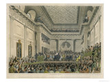 Meeting of the British and Foreign Bible Society in Freemasons Hall Giclee Print by C. Clark