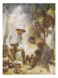 Missionary in Africa is Able to Heal a Native Patient Thanks to Help from Above Giclee Print by Harold Copping