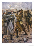 Naik Darwan Sing Negi of the 1st Battalion 39th Garhwal Rifles Bravely Leads a Bayonet Charge Giclee Print by Allen Stewart
