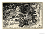 The King Riding a Dragon Rescues the Queen from Monsters Giclee Print by Henry Justice Ford