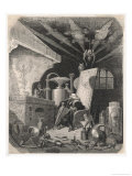 An Alchemist Anxiously Watches the Progress of His Work Giclee Print by Gustave Doré