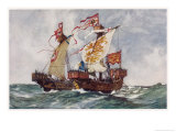 "The ""Queen"" Defeats a Portuguese Ship Running Supplies to the French Giclee Print by Charles Dixon"
