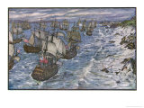Battle of Quiberon Bay Hawke Drives a French Fleet Under Conflans into Quiberon Bay Giclee Print by Henry Justice Ford
