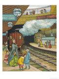 On the Platform at Portland Road Station London Giclee Print by Thomas Crane