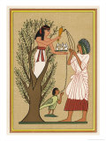 As Loving Mother-Goddess Mut Pours Water from the Sycamore Tree Over a Deceased Person and His Soul Giclee Print by E.a. Wallis Budge