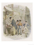 The Artful Dodger Teaches Oliver Twist to Pickpocket from the Rich Giclee Print by George Cruikshank