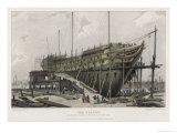 "The ""Nelson"" Warship Under Construction on the Thames at Woolwich London Giclee Print by W.b. Cooke"
