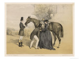 Lady in Her Riding Habit is Helped to Mount by a Gentleman While Her Groom Holds Her Horse's Head Giclee Print by Edmond Morin