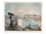 The Horizontal Moon Over a City River and Bridge Giclee Print by Charles F. Bunt