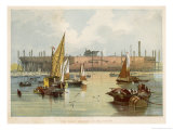 Under Constructionat Millwall Seen from the River Thames Giclee Print by J.w. Carmichael