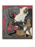 Boy Meets a Fierce Old Blacksmith and Beats Him with an Iron-Bar Giclee Print by Karl Fahringer