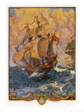 The Ship of Sir Francis Drake Formerly Named Pelican Giclee Print by Henry Justice Ford