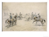 Men and Women in Historical Costume Dance the Quadrille on Horse Back Giclee Print by Henri Adam