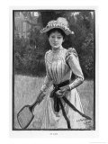 An Elegantly if Unsuitably Dressed Player Prepares to Serve Giclee Print by G.h. Sydney Cowell
