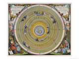 Earth is Depicted at the Centre of the Cosmos Circled by the Seven Planets Known to Him Giclee Print by Andreas Cellarius