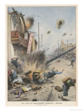 The Japanese Bombard Shanghai Giclee Print by Achille Beltrame