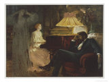 In a Reverie Induced by His Wife Playing the Piano He Hallucinates the Girl He Didn't Marry Giclée-Premiumdruck von Frank Bernard Dicksee