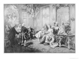 Wolfgang Amadeus Mozart Received by Madame De Pompadour Premium Giclee Print by V. De Paredes