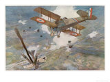 "French ""Spad"" Shoots Down a German Plane Giclee Print by Francois Flameng"
