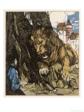 The Lion Confronts the Traveller Who Tries to Steal the Lark Giclee Print by Karl Fahringer