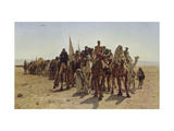 Caravan of Pilgrims Cross the Desert to Mecca Giclee Print by Leon Belly