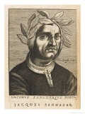 "Jacopo Sannazaro Italian Writer Known for His ""Arcadia"" Derived from Virgil Giclee Print by Nicolas de Larmessin"