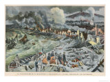 Rescuers in the Ruins of Saint-Pierre Martinique Entirely Destroyed by the Eruption of Mount Pelee Giclee Print by  Carrey
