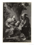 Jesus is Tempted by Satan in the Wilderness, Command This Stone That It be Made Bread Giclee Print by Francis Holl