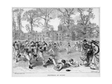 At Rugby School a Crowd of Schoolboys Run after the Ball at Rugby Reproduction procédé giclée par Walter Thomas