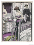 Slim Girl Puts on Her Corset Watched by Her No-Longer-Slim Momma Giclee Print by Paul Fischer